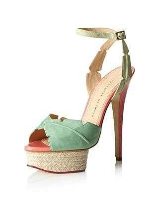 Charlotte Olympia Women's Isla Leaf Detail Sandal (Green/Coral)