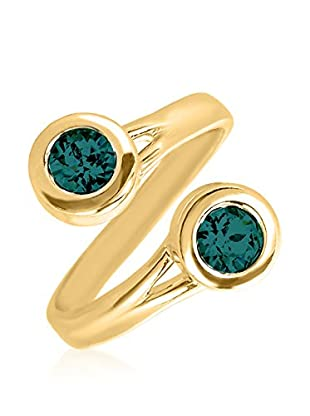 Swarovski Elements by Philippa Gold Ring 2 Chaton Serpent Ring