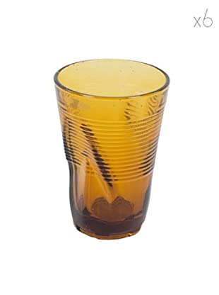 Kaleidos Set 6 Bicchieri Accartocciati 340 ml (Ambra)