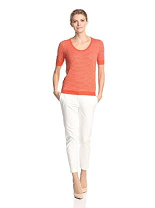Malo Women's Short Sleeve Dot Sweater (Orange/White Dots)