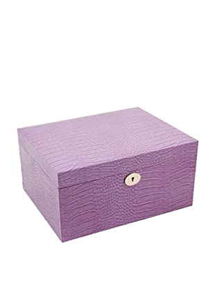 Bey-Berk Croc-Embossed Leather Jewelry Box, Pink