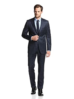 Simon Spurr Men's Checked 2-Button Suit (Navy)