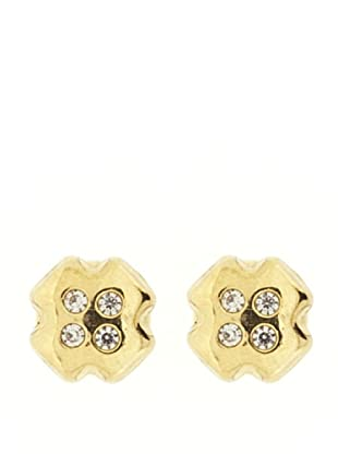 Gold & Diamond Pendientes Cruz Circonita