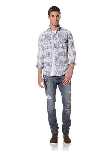 Artisan De Luxe Men's The Oxford Madras Button-Front Shirt (Madras Blue)
