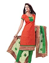 Charu Boutique Women's Cotton Un-Stitched Dress Material (Orange Green_Free Size))