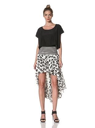 Norma Kamali Women's High Low Skirt (Milk Panic)