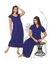 Indiatrendzs Women's Silk Satin Nighty Blue 2pc Set Sexy Sleepwear -Freesize