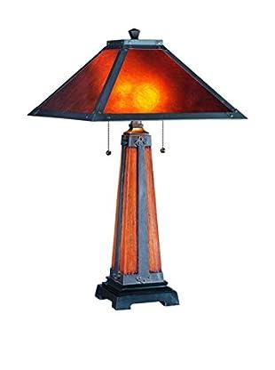 Lite Source Micah 2-Light Table Lamp, Dark Bronze/Walnut/Mica