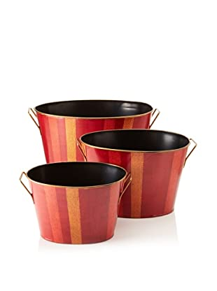 Set of 3 Summer Stripe Oval Buckets, Red/Gold