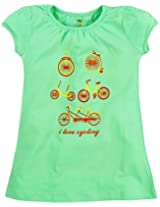 Oye Girls Round Neck Tee With Chest Print - Aqua Sky (3-4 Y)
