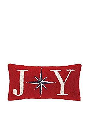 Peking Handicraft Joy Christmas Star Lumbar Pillow, Red/Blue