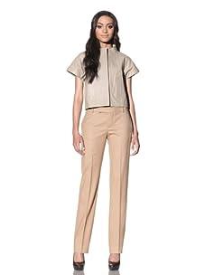 Chloé Women's Short Sleeve Leather Jacket (Beige)