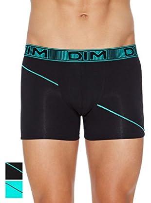 Dim Pack x 2 Boxer 3D Flex (Turquesa / Negro)