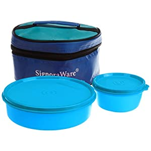 Signoraware New Classic Small Lunch Box with Bag, 550ml, T Blue
