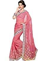 Peach Festival Wear Saree Embroidery Work Georgette Sari