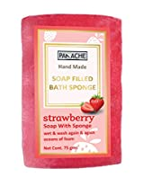 PANACHE Soap Filled Sponge - Strawberry, Bath Loofah and Soap in 1, Body Cleanser
