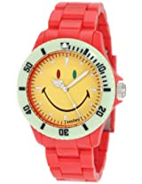 "Smiley ""Happy Time"" Men's WGS-CBRV01 Color Block Red and Yellow Analogue Watch"