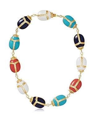 CZ by Kenneth Jay Lane Trend Scarab Enamel/CZ Collar Necklace