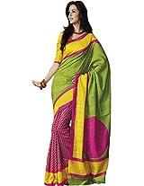 Parchayee Women's Bhagalpuri Silk Saree (94354A, Green, Free Size)