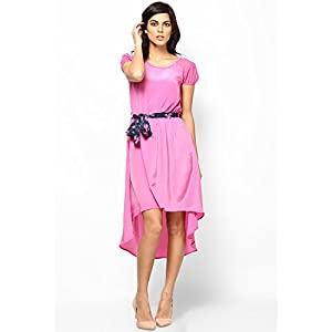Spring Is Here Pink Dress With Floral Belt