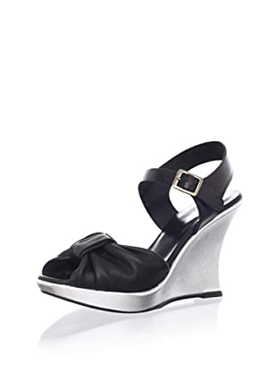 Nanette Lepore Women's Samba Wedge Sandal (Black/Silver)