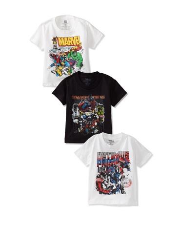 Freeze Boy's Marvel/Transformers T-Shirt Bundle (White/Black/White)