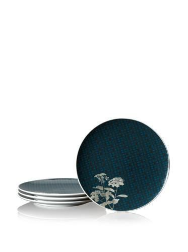 Notitake Everyday Elegance Verdena Coupe Salad/Luncheon Plates, Set of 4, Platinum, 9.75