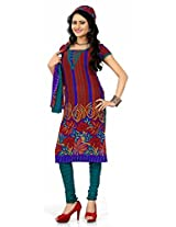 Khushali Presents Georgette Chudidar Dress Material(Red,Multi,Rama)