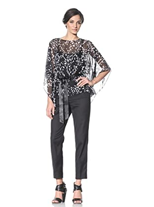Chetta B Women's Batwing Blouse (Black/White)