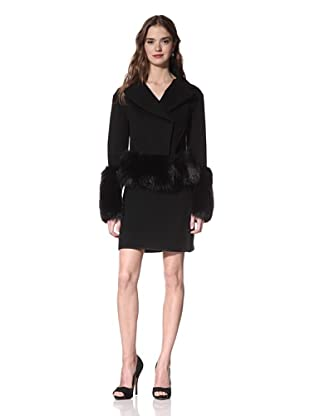 NINA RICCI Women's Wool Cashmere Moto Jacket with Fox Trim (Black)
