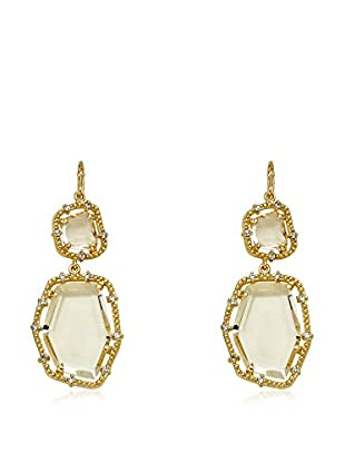 Riccova Sliced Glass Double Drop Earrings with CZs