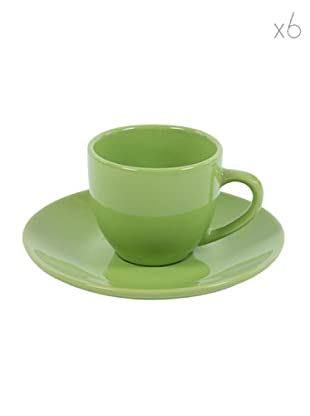 Kaleidos Set 6 Tazze Caffè con Piattino (Verde)