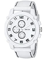 Breda Men's 8135-White Colton White Bezel Black Accented Silicone Band Watch