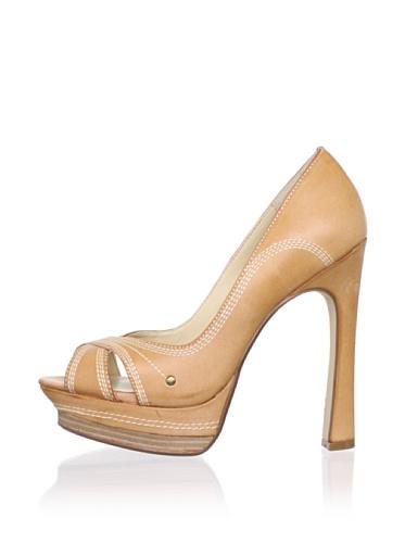 MaxStudio Women's Radley Peep-Toe Pump (Beige)