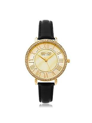 SO & CO Women's 5090.3 SoHo Black/White Leather Watch