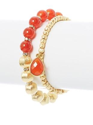 Diane Yang Designs Carnelian Combo Stretchy Bracelet Set