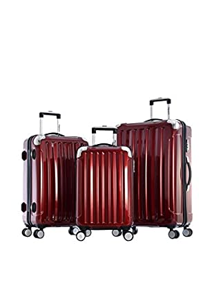 Olympia USA Stanton 3-Piece Polycarbonate Hardcase Spinner Set, Burgundy
