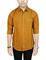AA' Southbay Men's Khaki Linen Cotton Long Sleeve Solid Casual Shirt
