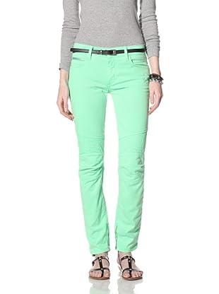 Rockstar Women's Biker Twill Jean (Neon Green)