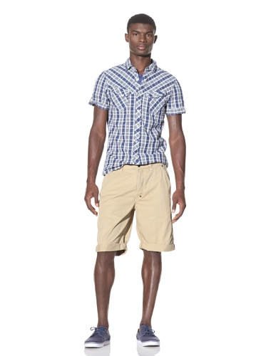 J.C. Rags Men's Cuffed Cotton Shorts (Khaki)