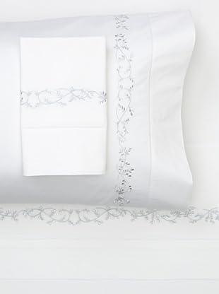 Sferra Natalie Sheet Set (White/Light Blue)