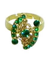 DollsofIndia Green and Brown Stone Studded Adjustable Ring - Stone and Metal - Green
