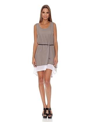 Assuili Vestido Crepe (Gris / Hueso)