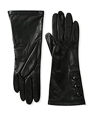 Portolano Women's Patent Cuff Leather Gloves with Buttons (Black/Black)