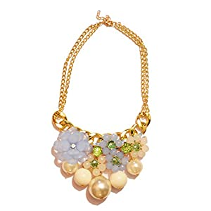 Daamak Jewellery Pearl With Blue Crystal Necklace