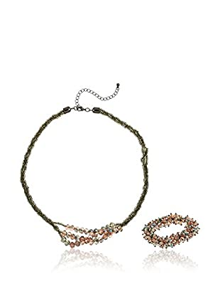 Cortefiel Conjunto de collar y pulsera Set Beads Piedra Hexagona