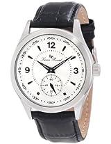 Lucien Piccard Men's 11606-02S Grande Casse Silver Dial Black Leather Watch