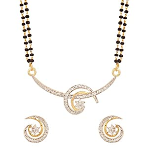 Voylla Double String Studded Mangalsutra Set - Gold