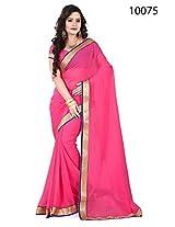 Ekaa Fashion Women's Chiffon Pink Designer Saree with blouse piece