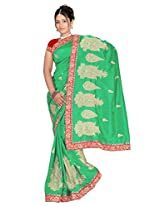 Chinco Manipuri Embroidered Saree With Blouse Piece (1102-C_Green)